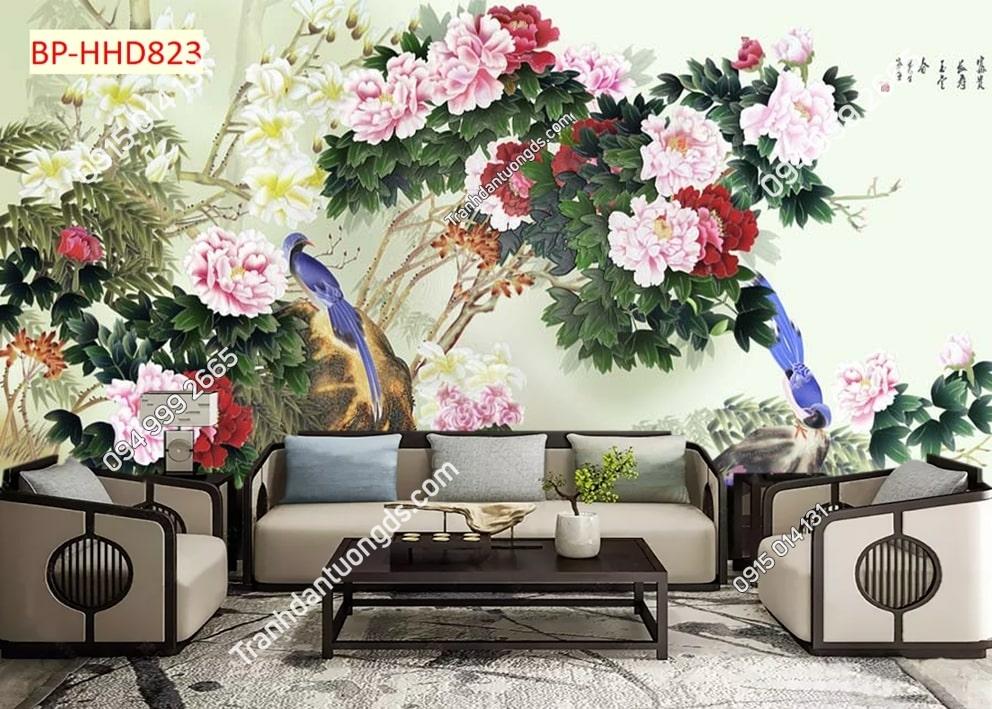 Tranh tường hoa mẫu đơn 3D màu hồng dán phòng khách HHD823
