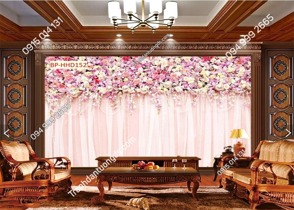 Tranh tường hoa màu hồng 3D HHD152