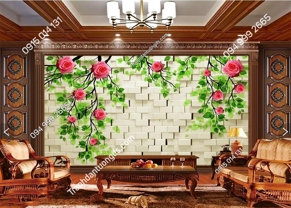 Tranh tường hoa nền đá 3D 51506