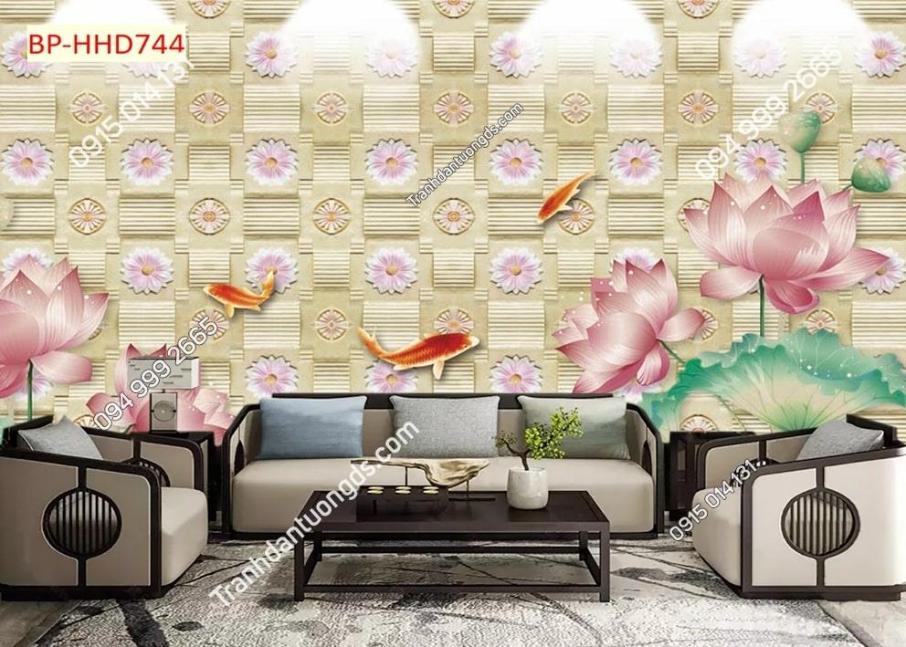 Tranh tường hoa sen 3D màu hồng dán phòng khách HHD744