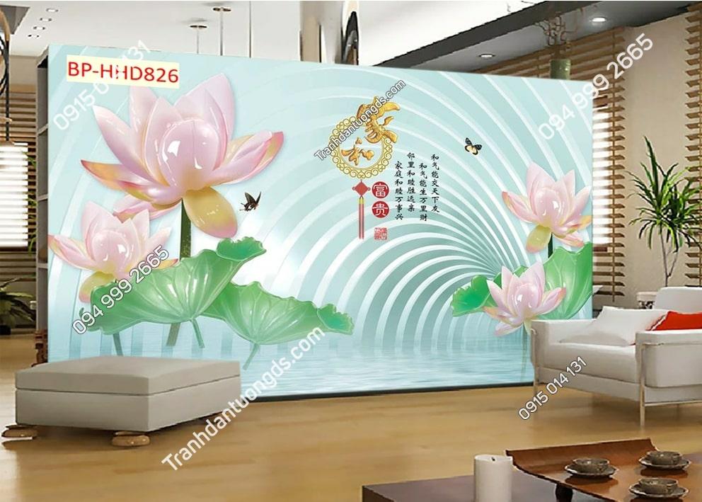 Tranh tường hoa sen 3D màu hồng dán phòng khách HHD826