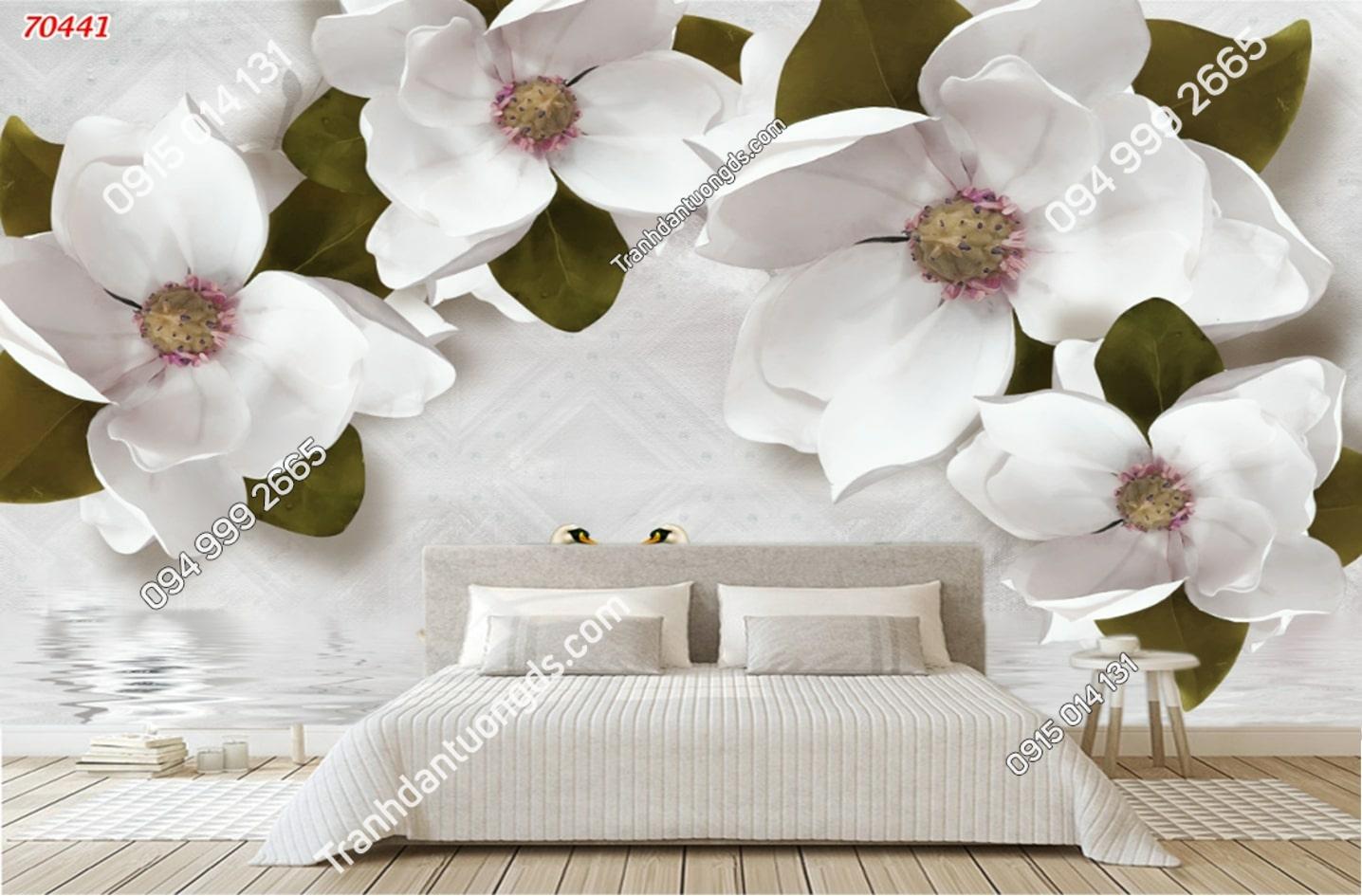 Tranh tường hoa trắng lá xanh đẹp 70441