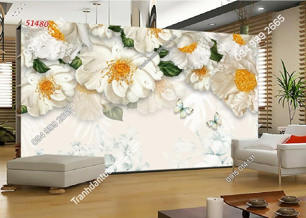 Tranh tường hoa trắng nhụy vàng 51480