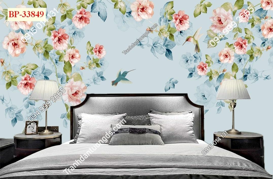 Tranh tường hoa và chim 33849