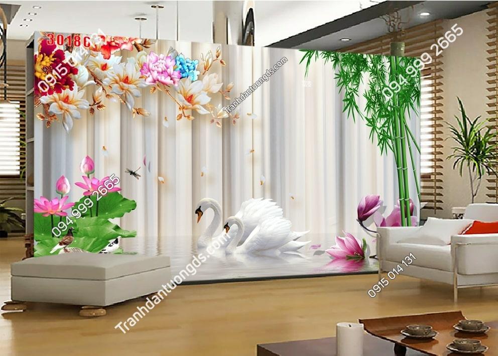 Tranh tường hoa và thiên nga 30186