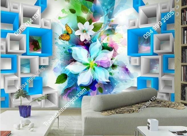Tranh tường hoa xanh và khối 3D DS_12090131
