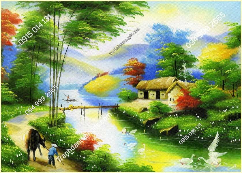 Tranh tường làng quê nông thôn DQ07