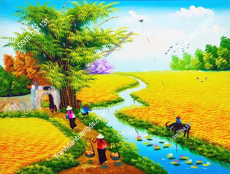 Tranh tường làng quê nông thôn DQ16