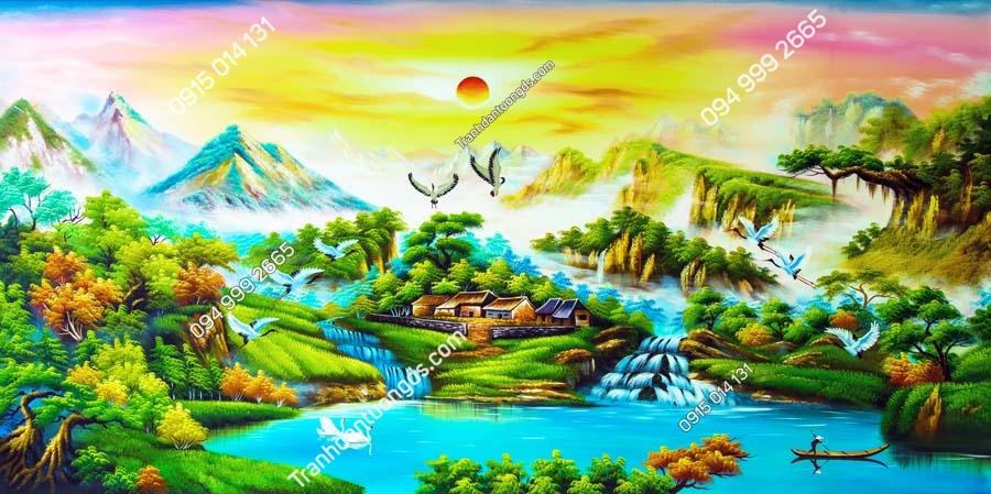 Tranh tường làng quê nông thôn DQ18