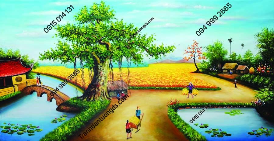 Tranh tường làng quê nông thôn DQ22