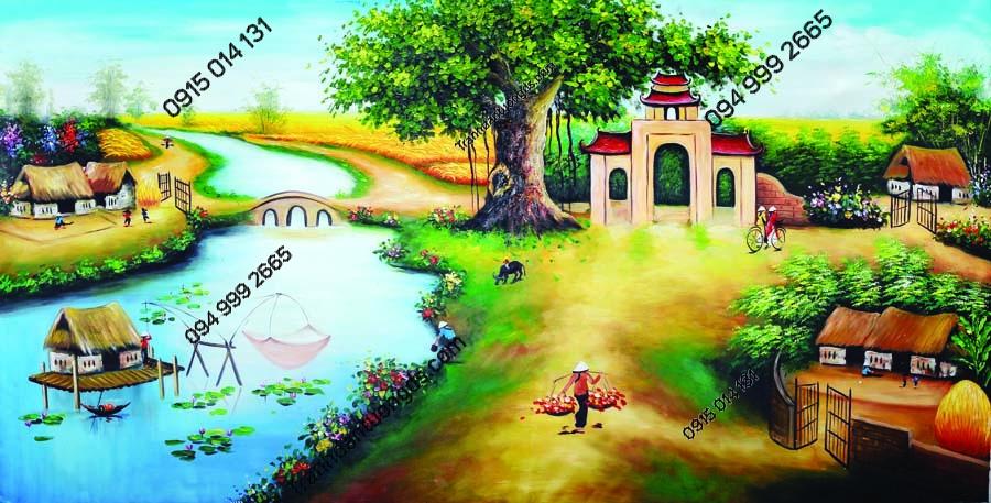 Tranh tường làng quê nông thôn DQ23