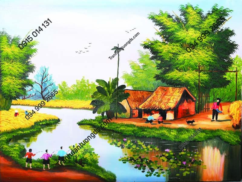 Tranh tường làng quê nông thôn DQ26