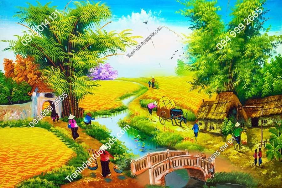Tranh tường làng quê nông thôn DQ41
