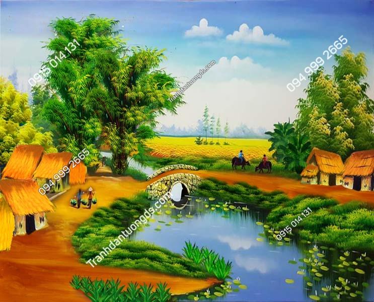 Tranh tường làng quê nông thôn DQ73