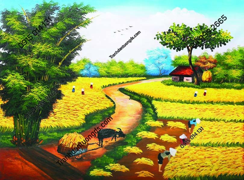 Tranh tường làng quê nông thôn mùa gặt DQ24