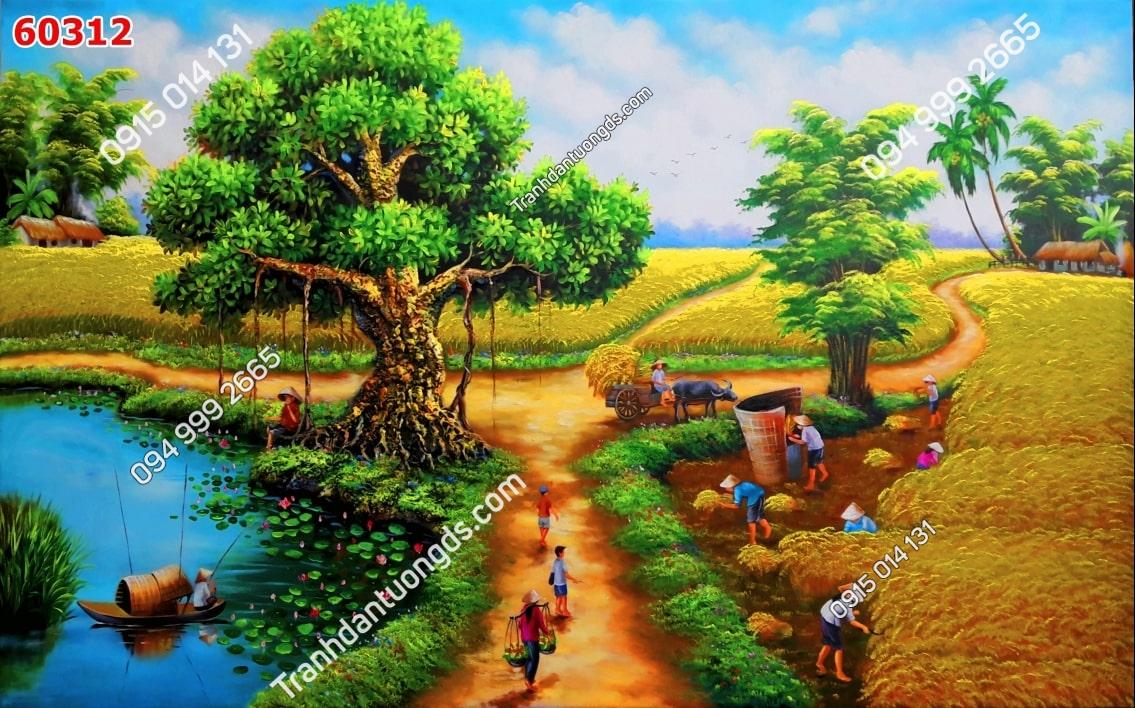 Tranh tường mùa gặt quê em 60312