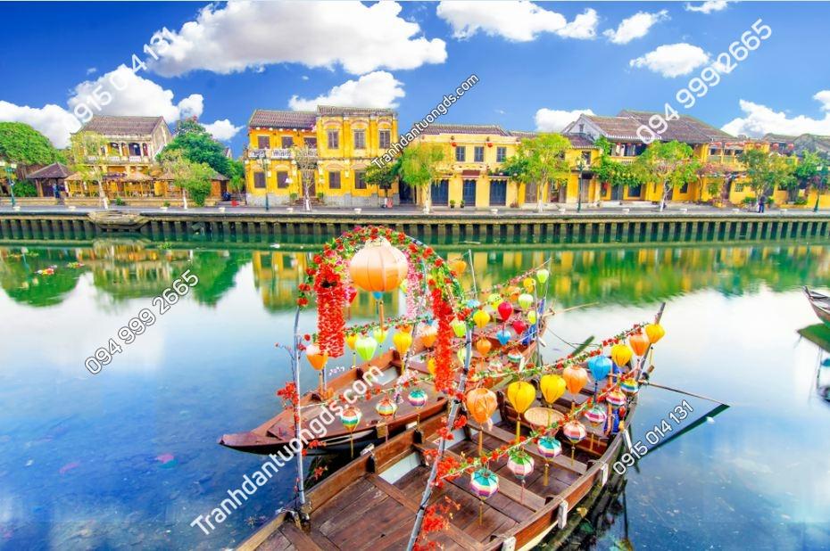 Tranh tường phố cổ Hội An ven sông 1624224706