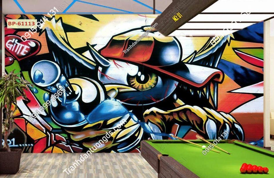 Tranh tường quán BILLARD CLUB kiểu Grafity 61113