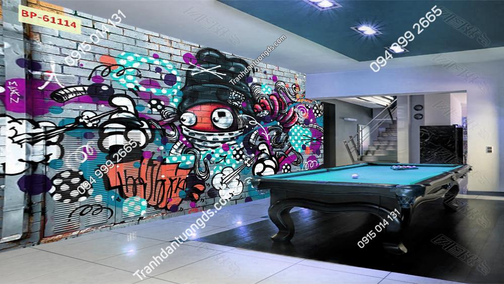 Tranh tường quán BILLARD CLUB kiểu Grafity 61114