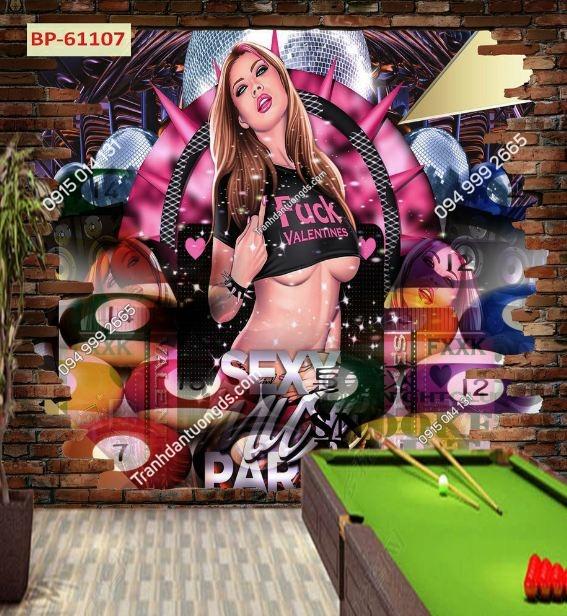 Tranh tường quán BILLARD cô gái sexy 61107