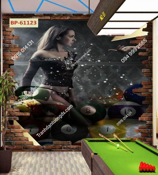 Tranh tường quán BILLARD cô gái sexy 61123