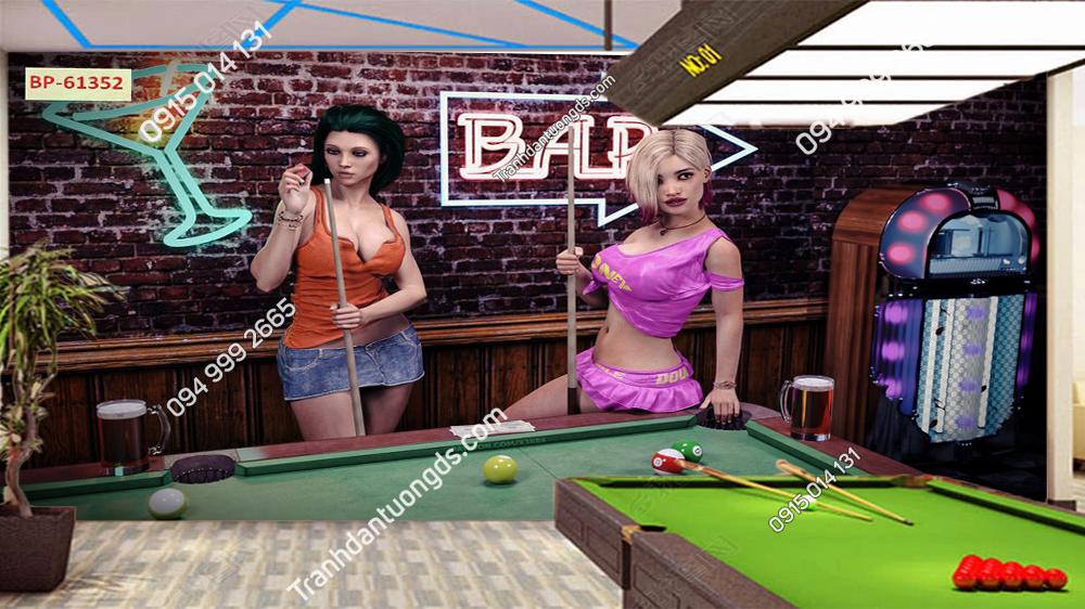 Tranh tường quán Bi A cô gái sexy 61352