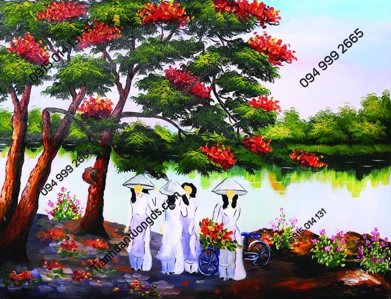 Tranh tường sinh viên áo dài hái hoa phượng DQ34