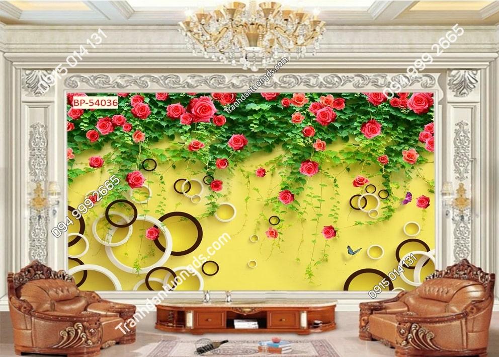 Tranh tường sơn vàng và hoa hồng leo 54036