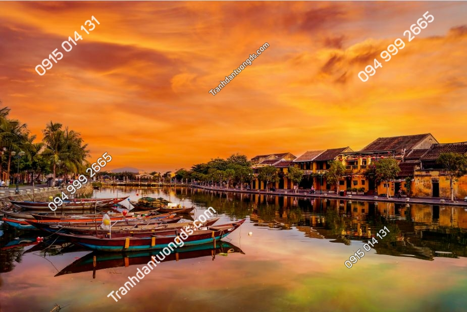 Tranh tường sông hoài Hội An hoàng hôn 1216372543