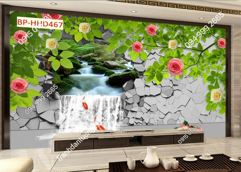 Tranh tường suối hoa HHD467