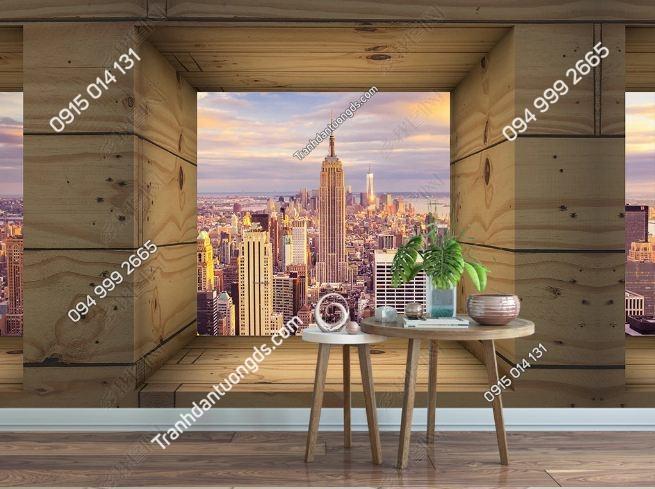 Tranh tường thành phố qua ô gỗ 3D DS_16409752