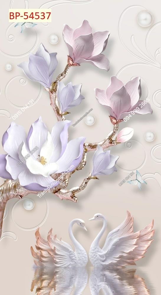 Tranh tường thiên nga và hoa 3d 54537