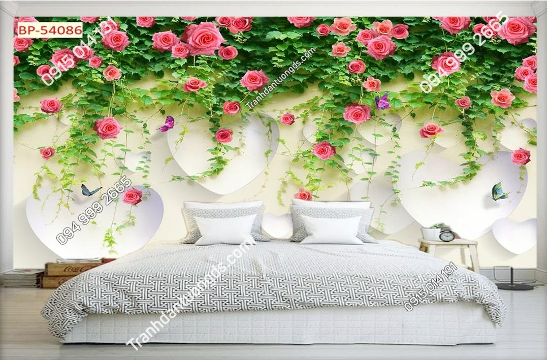 Tranh tường trái tim và hoa hồng 54086