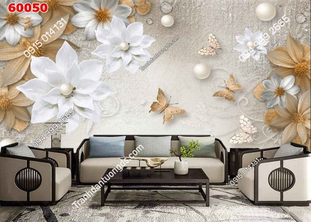 Tranh vải lụa hoa 3D 60050