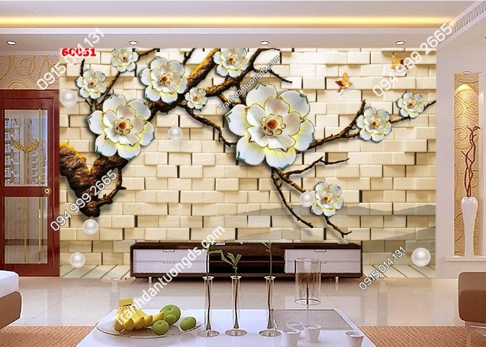Tranh vải lụa hoa 3D 60051