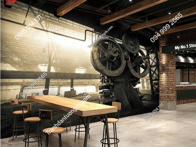 Tranh xưởng máy cũ 3D cho quán ăn DS_15309174