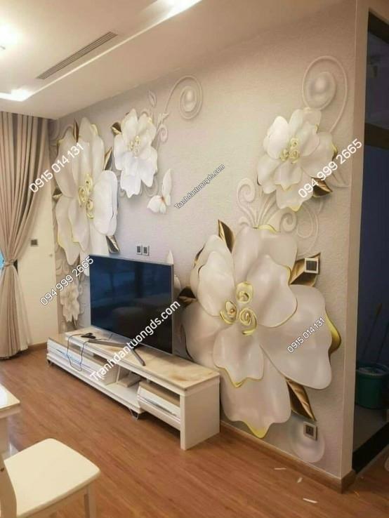 tranh dán tường hoa giả ngọc phòng khách