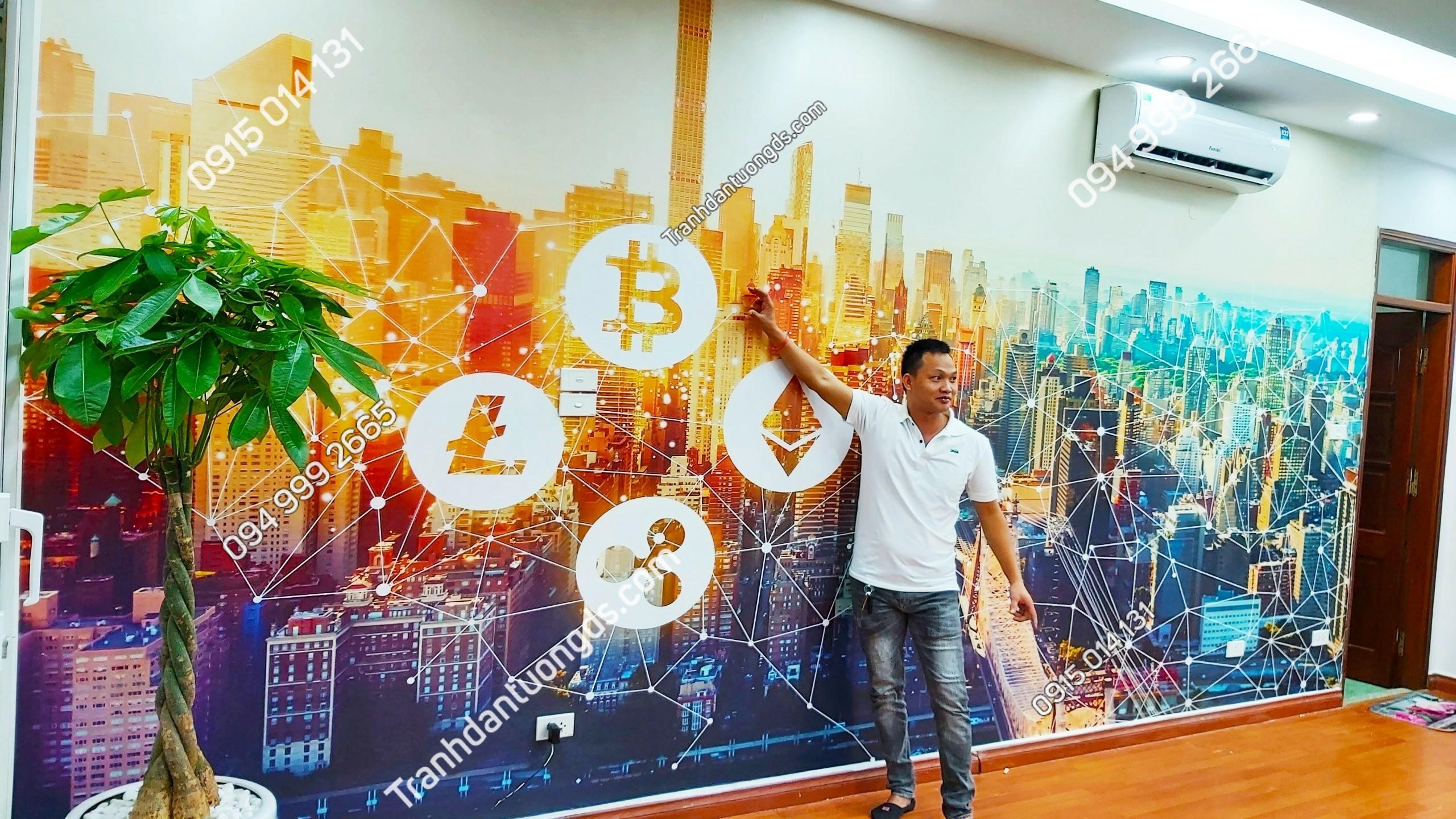 Tranh dán tường tài chính cho văn phòng