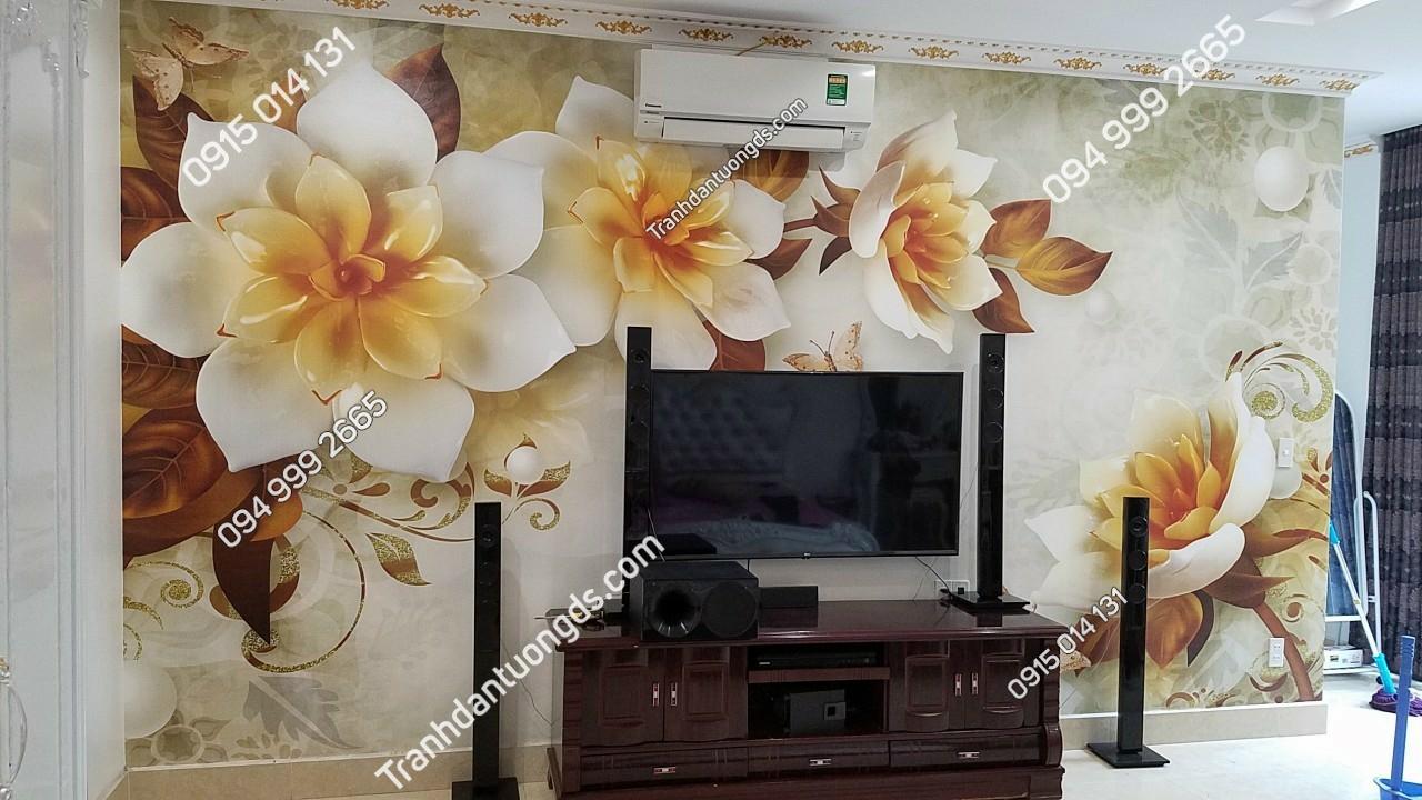 Tranh hoa giả ngọc in nổi 5D