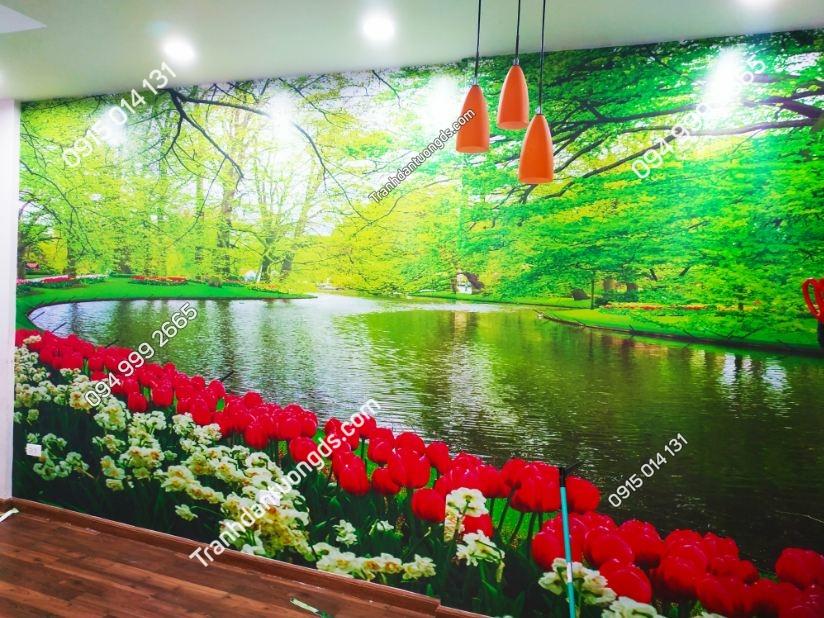 Mẫu tranh phong cảnh dán phòng khách