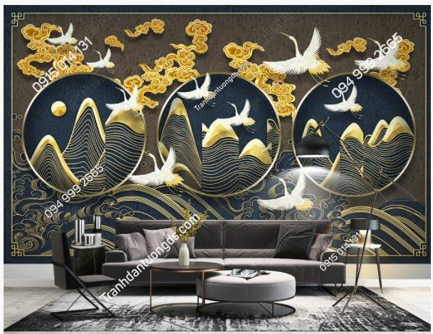 Tranh chim hạc hiện đại dán tường phòng khách weili_23488579