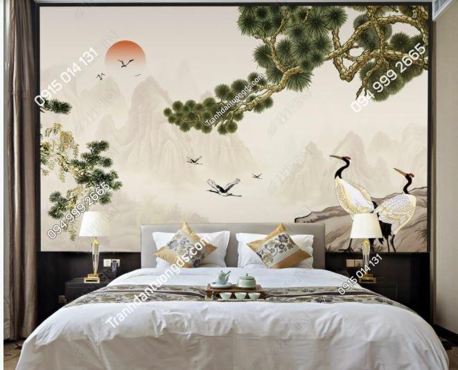 Tranh chim hạc và cây tùng mặt trời dán phòng ngủ weili_16712201