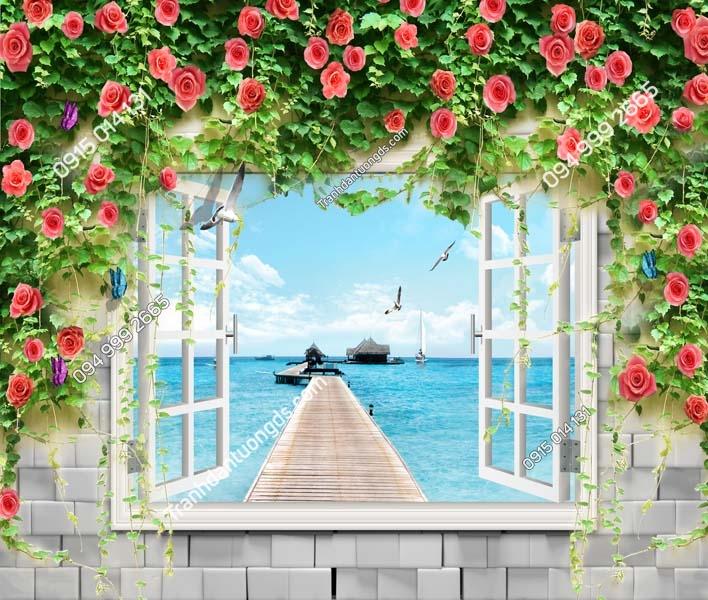 Tranh dán tường 3D cửa sổ_CS209