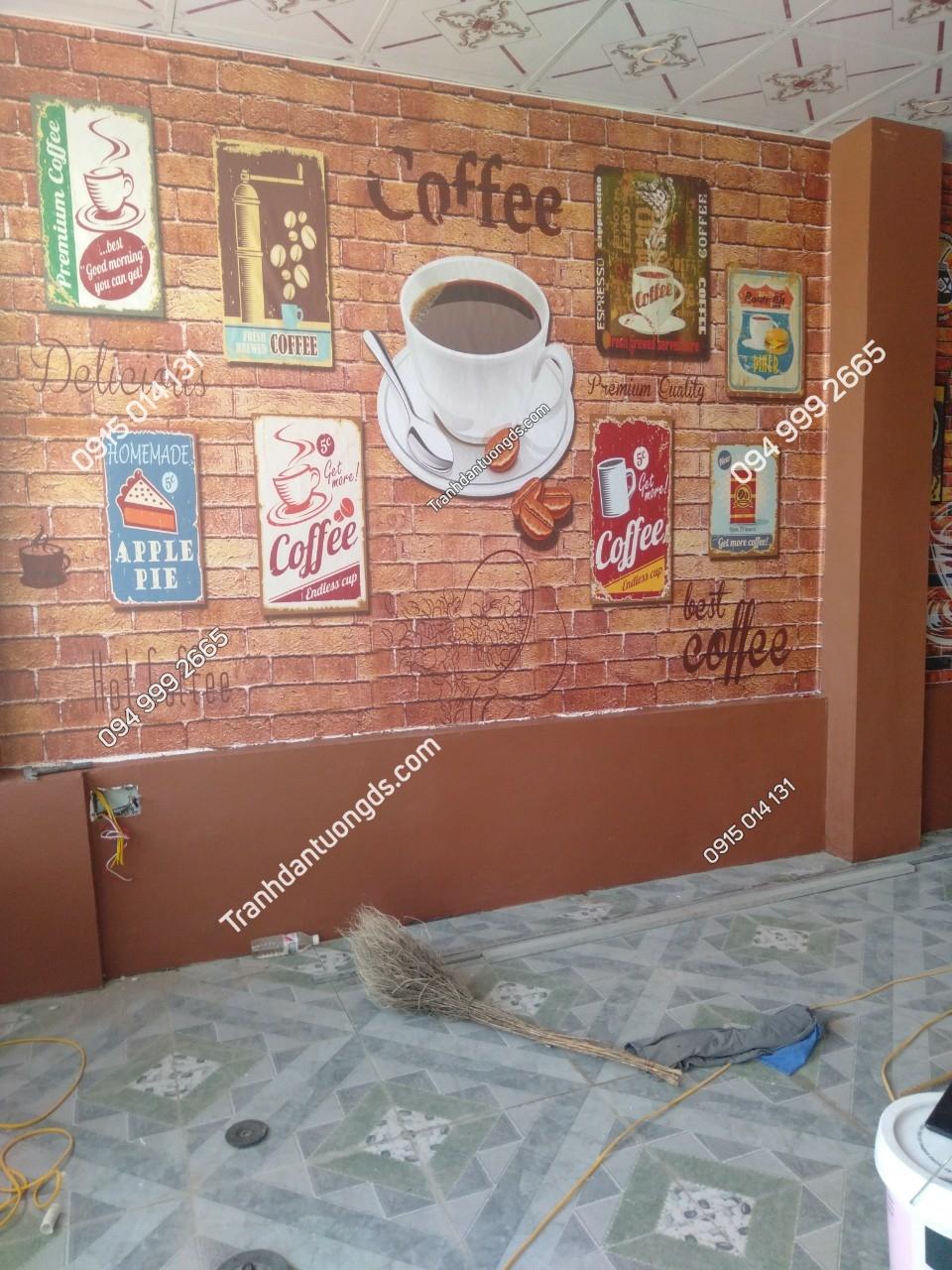 Tranh dán tường cafe thanh thủy