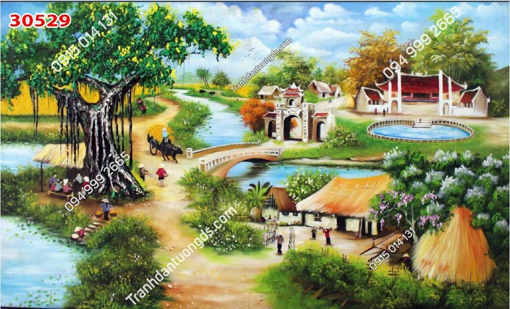Tranh dán tường cây đa giếng nước sân đình_30529