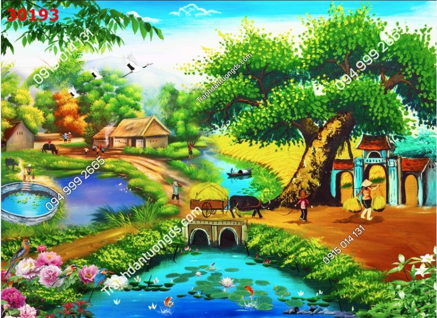 Tranh dán tường cây đa giếng nước_30193