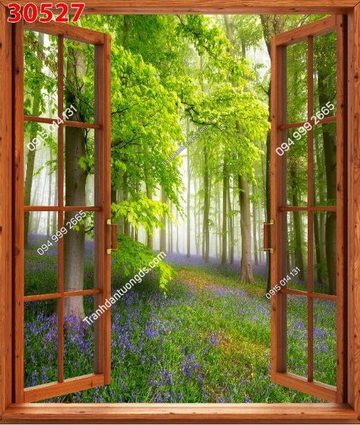 Tranh dán tường cửa sổ khổ dọc_30527