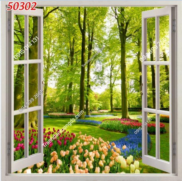 Tranh dán tường cửa sổ khổ dọc_50302