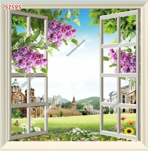 Tranh dán tường cửa sổ khổ dọc_51595