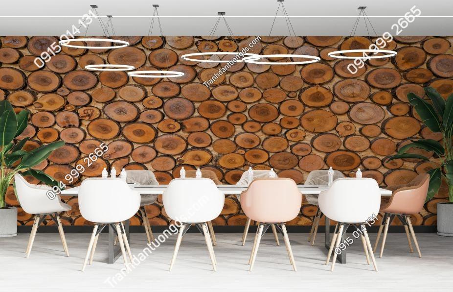 Tranh dán tường giả gỗ 3D lát cắt 518361013